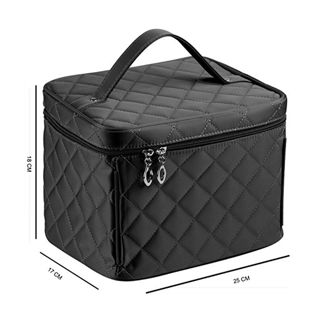 Big size black nylon cosmetic bags with zipper single layer  quality travel Makeup bags