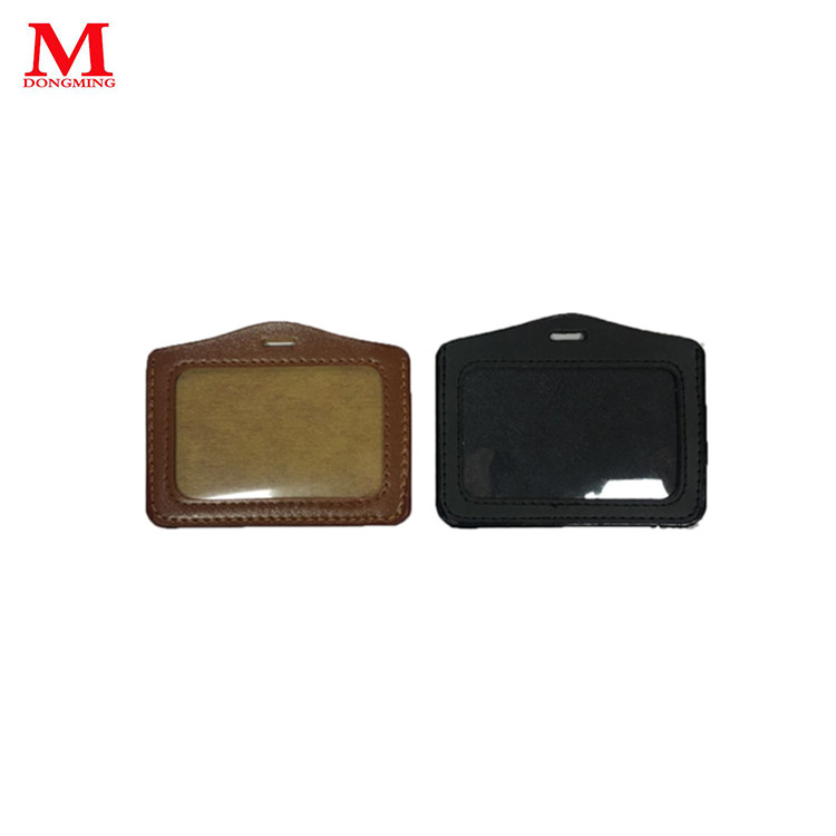 Double leather high qality voltage conpany logo work card holder for promotion
