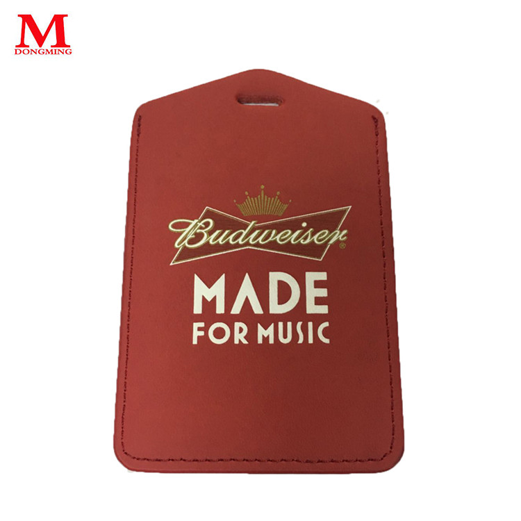 High-end real leather work card holder for sales red ID card holder/ name card holder